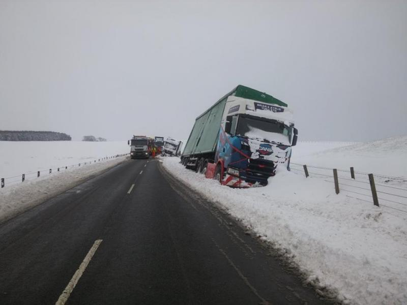 HGV vehicles stuck in the snow