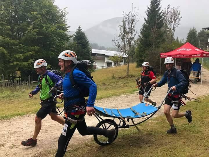 Team members finishing the Dolomiti Rescue Race